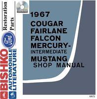 1967 Fairlane Falcon Mustang Cougar Shop Service Repair Manual CD