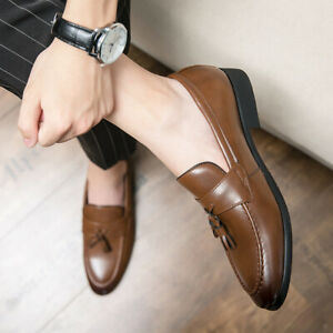 Mens Pointy Toe Faux Leather Business Casual Shoes Tassels Slip On Loafers New L
