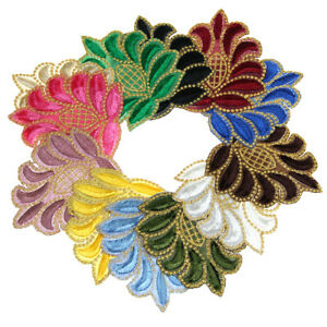 Hot 6 pcs Bergamot Flower Embroidered Patches Sewing Fabric DIY Craft Applique