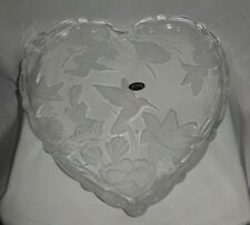"""Frosted / Etched Glass Heart-Shaped Floral w/ Hummingbird Serving Platter ~13"""""""