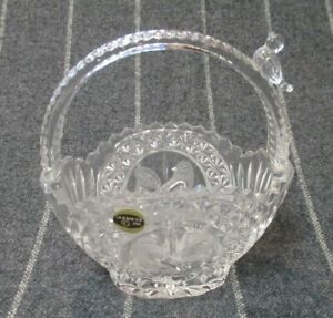 """Vintage Hofbauer The Byrdes Collection Lead Crystal Basket 7"""" tall Germany 1985"""