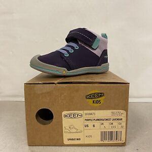 KEEN KIDS Little Girls' Sprout Mid Sneaker - Purple/Lavender - Size 6 - NEW NIB