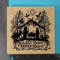 PSX Nativity Silent Night K-1196 Silhouette Wood Mounted Rubber Stamp