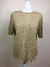 Berketex gold Sparkly Crochet Lacy Knit top T shirt party holiday UK18 - 20 (AU)