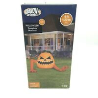 Halloween 4' Wide Airblown Inflatable Light Up LED Crawling Pumpkin Monster NEW