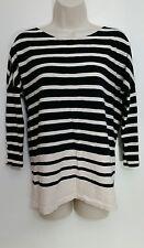 J Crew Top XS Long Striped Boater Tee Pink Black Stripe 3/4 Sleeve Scoop Neck