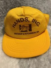 Retro Vintage Trucker Hat Hands, Inc. Winthrop & Hutchinson, Mn Snapback Cap