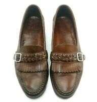 Cole Haan Country, Brown Leather Kiltie Buckle Loafer Shoes, Men's Size 10.5 M