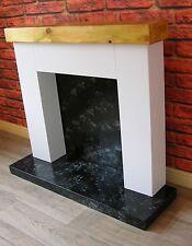 Modern Chunky Fire Surround (Light Oak Mantle)+ Marble Effect Hearth & Backplate