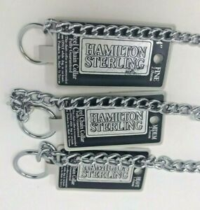 New Hamilton Sterling Steel Chain Dog Collar XFine, Fine, Medium, Heavy