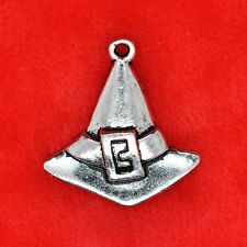 6 x Tibetan Silver Witch Wizard Hat Halloween Charm Pendant Finding Bead Making