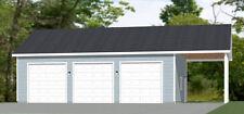 40x30 3-Car Garage with Carport -- 1,200 sq ft -- PDF Floor Plan -- Model 6R