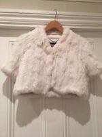 Gorgeous BCBG 'Scarlet' rabbit fur short sleeved jacket Size Small