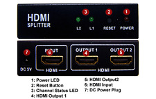 Active Powered 2-port HDMI Active Splitter With 5V DC Power Supply