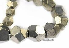 """PALAZZO IRON PYRITE GEMSTONE GRADATED FACETED HEXAGON CUBE 17MM LOOSE BEADS 16"""""""