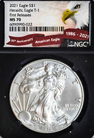 2021 $1 T-1 Heraldic American Silver Eagle NGC MS70 First Release 35 Anniversary