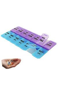 7 Day AM & PM Tablet Pill Box Weekly Organiser Dispenser Storage Case Portable
