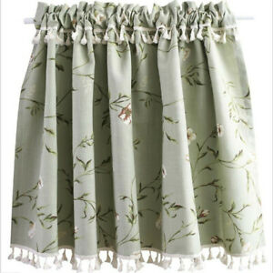 Floral Half Curtain For Dining Kitchen Retractable Toilet Blackout Window Drapes