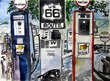 route 66 gas station pen and ink drawing watercolor painting art print