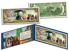"""$2""""WIZARD OF OZ"""" MOVIE  BILL GENUINE LEGAL TENDER COLORIZED W/ GOLD STAMPED case"""