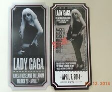 Lady GaGa Commemorative Hologram Ticket Limited Edition Roseland Ballroom