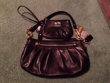 Sale! NWT! COACH Black Leather Brass Leather Small Hobo W Matching Small Clutch