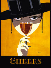 Cheers Wine Spanish Hat Restaurant Food Vintage Poster Repro 20x30 FREE SH