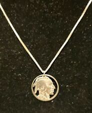 Vintage 1935 Indian Head Nickel Coin Cut Out Pendent  W/ Sterling .925 Chain