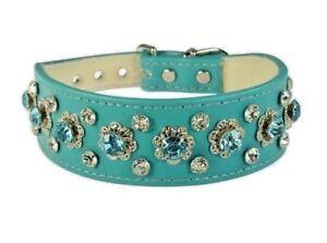 3 row Dog Collar Rhinestone Turquoise Blue Elegant Filigree Crown Jewel Bling!