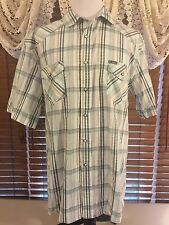 Men's NWT SOUTHERN THREADS XXL 2XL Blue/Ivory/Green SS Pearl Snap Western Shirt