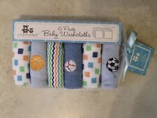 6 Pack Baby Washcloths by Cribmates Sports Solids & Patterns Soft Thin to Lather