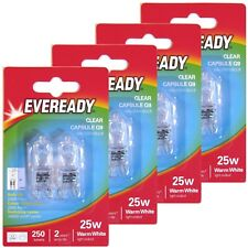 8 x Eveready G9 Eco 25W Halogen Bulb 250 Lumens 220V Clear Capsule Lamp