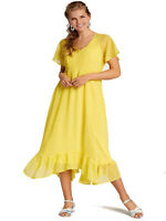 Cellbes SUMMER Yellow Spotted Frill Hem Short Sleeves Midi Dress Size 8/10-20/22