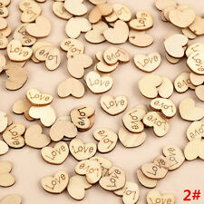100pcs/set Rustic Wooden Wood Love Heart Wedding Table Scatter Decoration Crafts