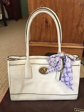 Beautiful Vintage White Leather Coach Tote Handbag With Original Dust Bag