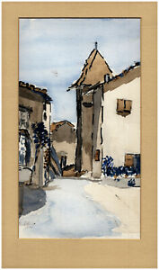 French Signed 1991 Original Watercolour 36 St Romain