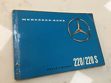 Mercedes Benz 220 220S Owners Manual W111  Heckflosse Fintail Genuine Rare