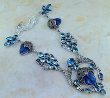 STUNNING WINGED GODDESS & HER BABIES BLUE TOPAZ AMETHYST SILVER NECKLACE 22 1/4