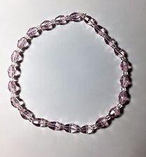 """Celestial Crystal Stretch Ankle Bracelet - Oval Pink Beads - 10"""""""