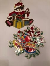 Vintage Christmas Large Plastic Sun Catcher Window Ornaments Cat Bells