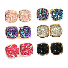 Wholesale Fashion Women Multi-Color Square Druzy Gold Plated Stud Earrings