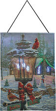 Christmas Perch Cardinals Fiber Optic Tapestry Bannerette Wall Hanging