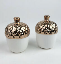 Acorn Salt and Pepper Set Copper and White 3 Inch Design Imports 91359