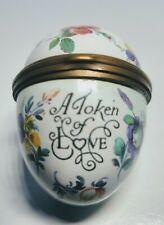 Halcyon Days Bilston & Battersea English Enamels Token Of Love Egg Trinket Box