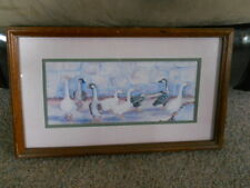 Ava Freeman Print Wall Art 8 Geese Wood Framed Matted Signed Picture
