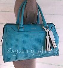 Coach L Perforated Leather Robins Egg Blue Haley Satchel Shoulder Handbag 23577