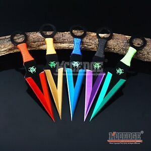 "3PC 6.5"" Ninja Kunai Biohazard Technicolor Zombie  Knife Set +Sheath"