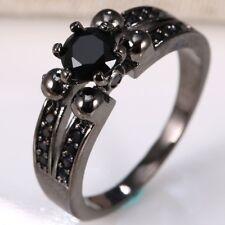 925 Silver Ring Black Sapphire Gemstone 0.6CT Wedding Ring Size 6