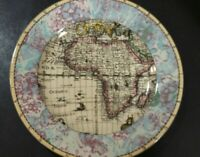 "Fitz & Floyd Habitat Americana Old World Maps 7 3/4"" Salad Plate"