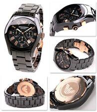 A Estrenar Genuino Para Hombre Emporio Armani AR1410 cerámica de Oro y Negro Reloj con caja